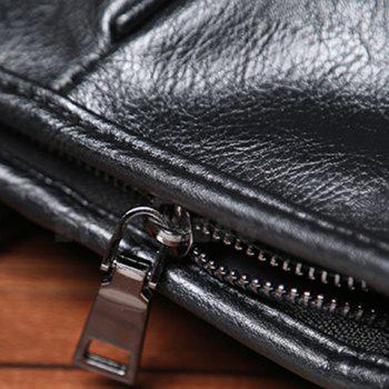 Casual PU Leather and Black Design Briefcase For Men - BLACK