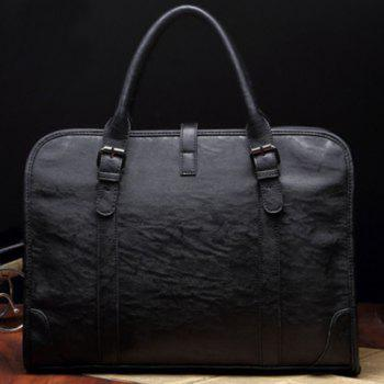 Casual PU Leather and Weaving Design Briefcase For Men -  BLACK