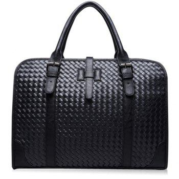 Casual PU Leather and Weaving Design Briefcase For Men - BLACK BLACK