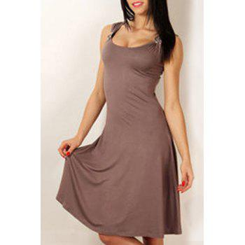 Stylish Women's Scoop Neck Sleeveless Solid Color A-Line Dress