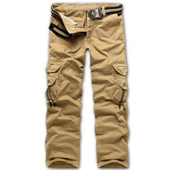 Casual Loose Fit Multi-Pockets Zip Fly Cargo Pants For Men