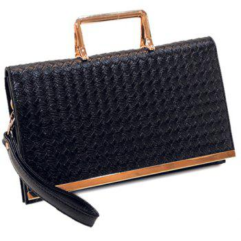Fashionable Solid Color and Weaving Design Women's Crossbody Bag