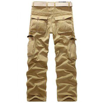 Casual Loose Fit Multi-Pockets Zip Fly Straight-Leg Cargo Pants For Men - KHAKI 40
