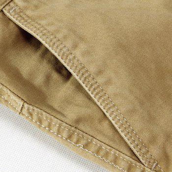 Casual Loose Fit Multi-Pockets Zip Fly Straight-Leg Cargo Pants For Men - KHAKI 33