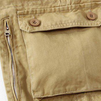 Casual Loose Fit Multi-Pockets Zip Fly Straight-Leg Cargo Pants For Men - KHAKI 34