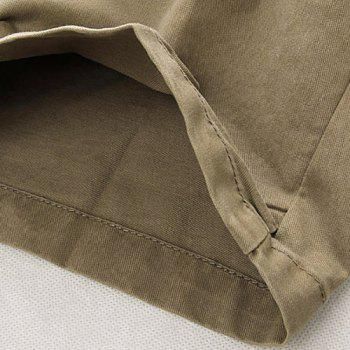 Casual Loose Fit Multi-Pockets Zip Fly Solid Color Cargo Pants For Men - KHAKI 32