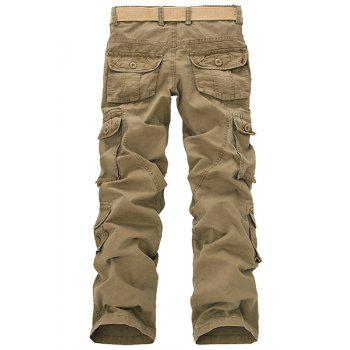Casual Loose Fit Multi-Pockets Zip Fly Solid Color Cargo Pants For Men - KHAKI 30