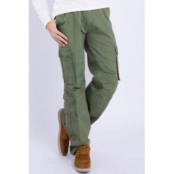 Casual Loose Fit Multi-Pockets Zip Fly Solid Color Cargo Pants For Men - ARMY GREEN 32