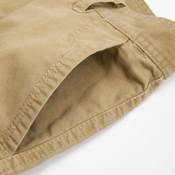 Casual Loose Fit Multi-Pockets Zip Fly Cargo Pants For Men - KHAKI 33