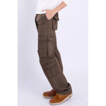Casual Loose Fit Multi-Pockets Zip Fly Solid Color Cargo Pants For Men - COFFEE 36