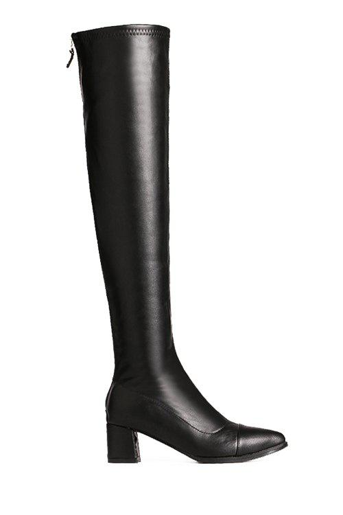 Concise Black and Chunky Heel Design Thigh Boots For Women - BLACK 36