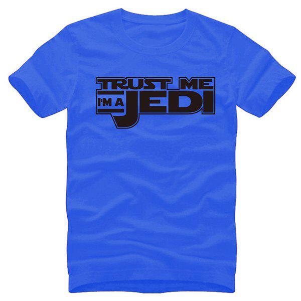 Trendy Round Neck Star Wars Letters I Am Jedi Print Slimming Short Sleeves Blue T-Shirt For Men