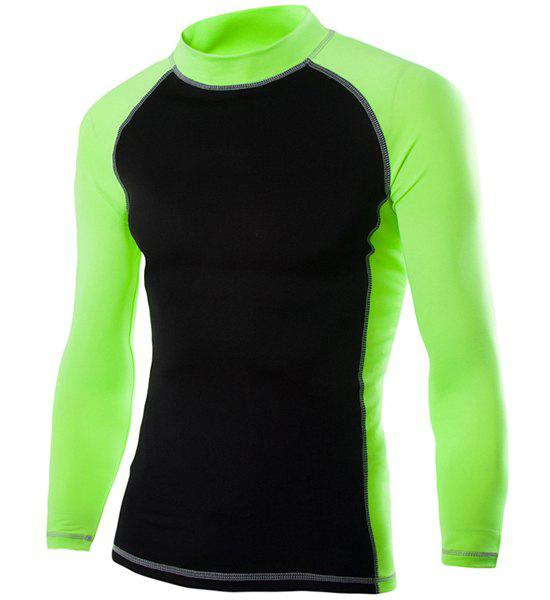 Turtle Neck Color Block Splicing Design Long Sleeve Men's T-Shirt - GREEN 2XL