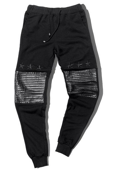 PU-Leather Splicing Design Star Embroidered Lace-Up Beam Feet Men's Pants