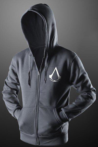 Assassins Creed Print Front Pocket Drawstring Hooded Long Sleeves Zip Up Hoodie For Men