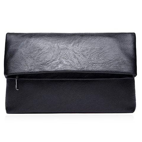Simple Black and PU Leather Design Clutch Bag For Men - BLACK