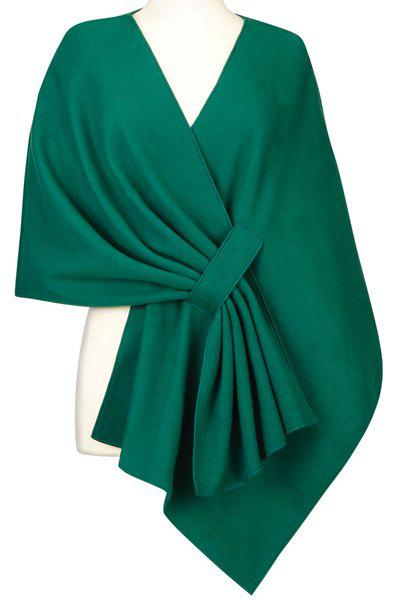 Vintage Pleated Solid Color Cloak Cape For Women - BLACKISH GREEN ONE SIZE(FIT SIZE XS TO M)