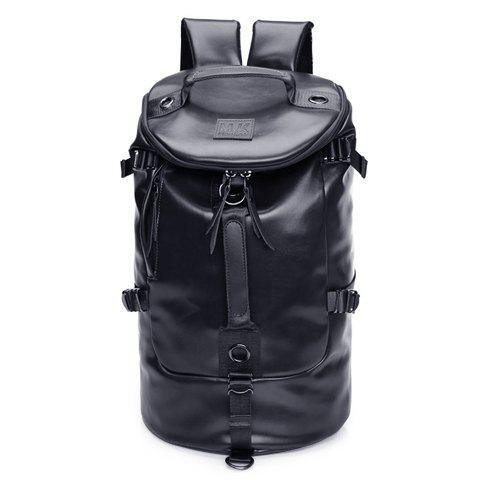 Casual Solid Color and PU Leather Design Backpack For Men - BLACK