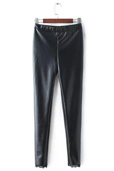 Women's Chic High Waist Lace Splicing Leather Leggings