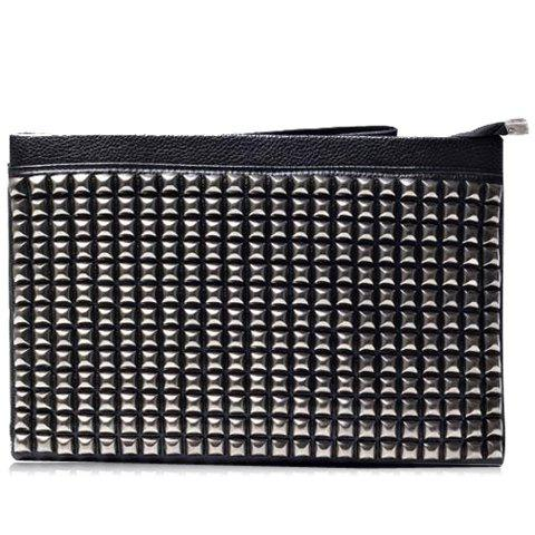 Fashionable Rivets and PU Leather Design Clutch Bag For Men - BLACK