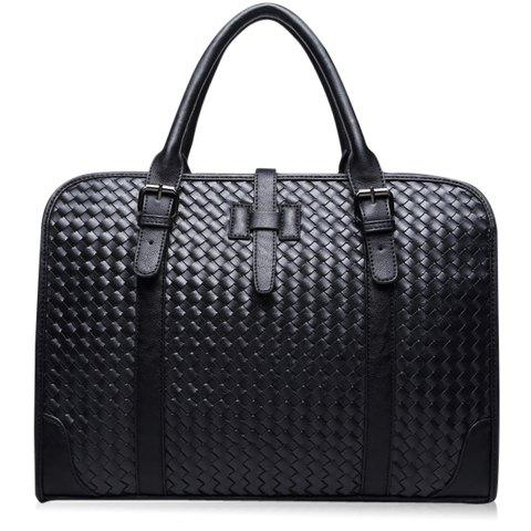 Casual PU Leather and Weaving Design Briefcase For Men