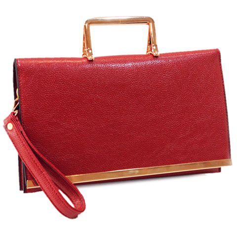 Stylish Metallic and PU Leather Design Women's Crossbody Bag - RED