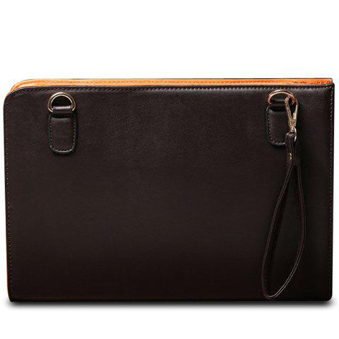 Simple Solid Color and PU Leather Design Clutch Bag For Men - COFFEE