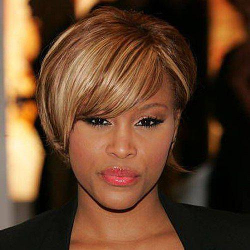 Ladylike Straight Synthetic Trendy Short Inclined Bang Mixed Color Women's Wig short pixie cut capless straight inclined bang synthetic wig
