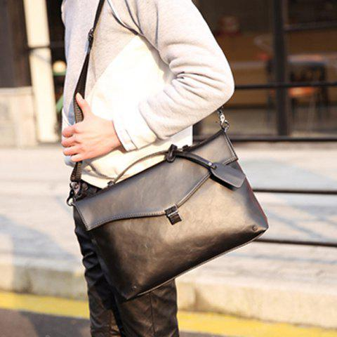 Retro PU Leather and Hasp Design Briefcase For Men - BLACK