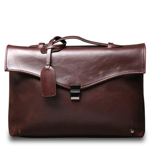 Retro PU Leather and Hasp Design Briefcase For Men - COFFEE