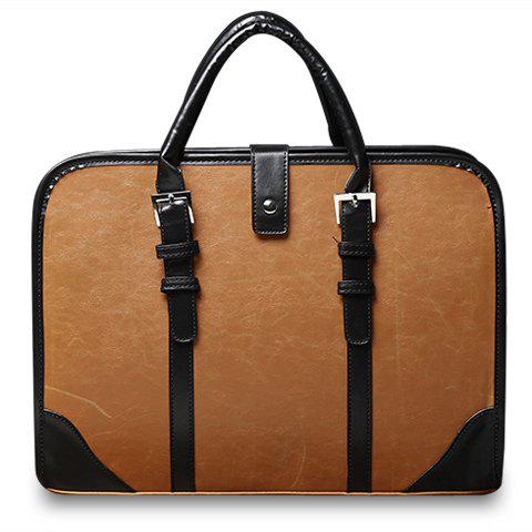 Vintage Style Strap and PU Leather Design Briefcase For Men - EARTHY