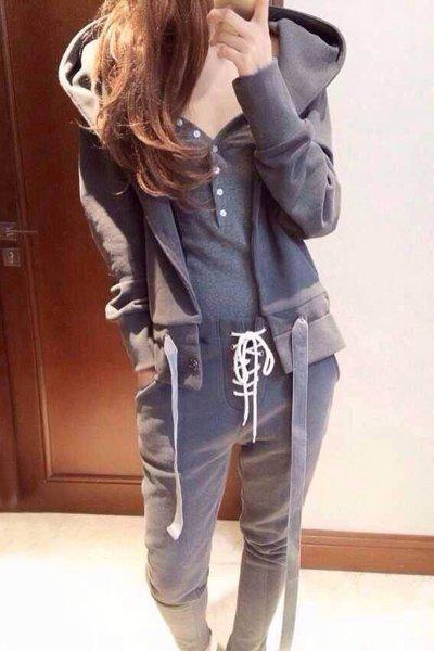 Trendy Hooded Long Sleeve Gray Drawstring Hoodie + Tank Top + Lace-Up Pants Women's Three Piece Suit