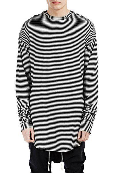 Round Neck Lengthen Long Sleeve Stripe Men's T-Shirt - STRIPE XL