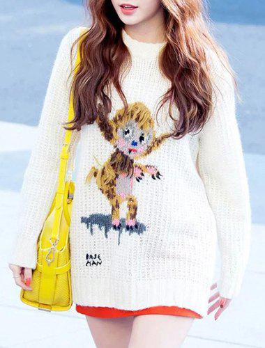 Women's Chic Long Sleeve Round Neck Animal Pattern Sweater - WHITE ONE SIZE(FIT SIZE XS TO M)