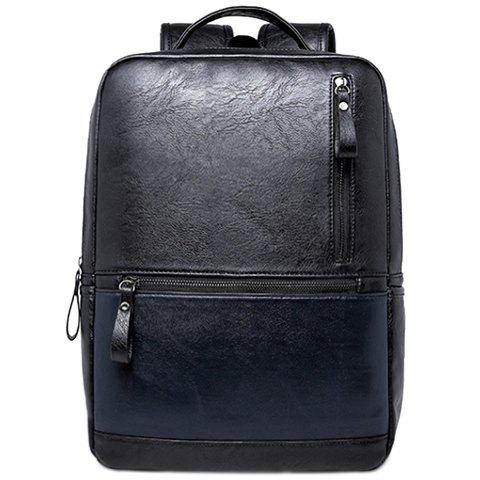 Laconic Zipper and PU Leather Design Backpack For Men - BLACK