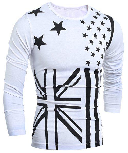Stars and Flag Print Round Neck Long Sleeve Men's T-Shirt - WHITE XL