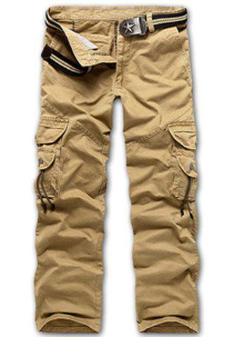 Casual Loose Fit Multi-Pockets Zip Fly Cargo Pants For Men - KHAKI 36