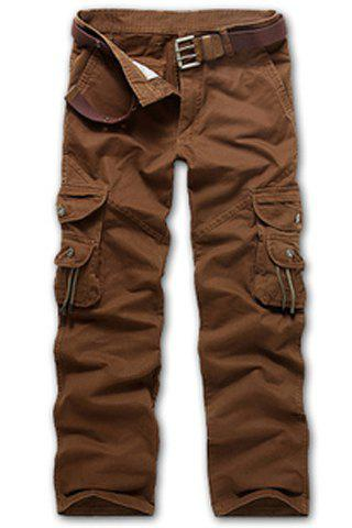 Casual Loose Fit Multi-poches Fermeture Pantalons Cargo Fly For Men - Café 38