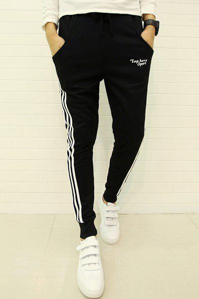 Lace-Up Side Stripe Letter Embroidered Beam Feet Men's Pants - BLACK M