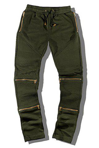 Lace-Up Rib Splicing Zipper Design Beam Feet Men's Pants - BLACKISH GREEN M