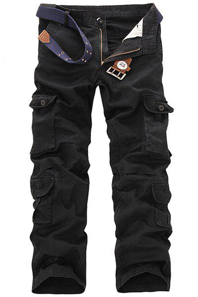 Casual Loose Fit Multi-Pockets Zip Fly Solid Color Cargo Pants For Men - 34 BLACK