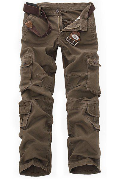 Casual Loose Fit Multi-Pockets Zip Fly Solid Color Cargo Pants For Men - COFFEE 31