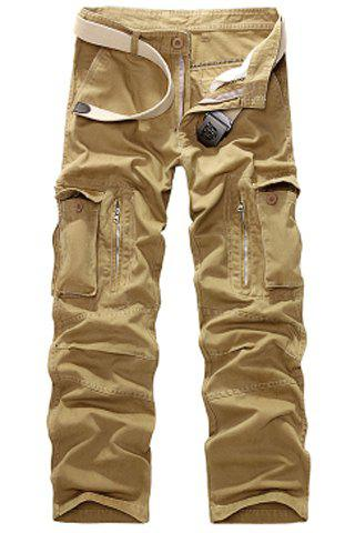 Casual Loose Fit Multi-Pockets Zip Fly Straight-Leg Cargo Pants For Men - KHAKI 32