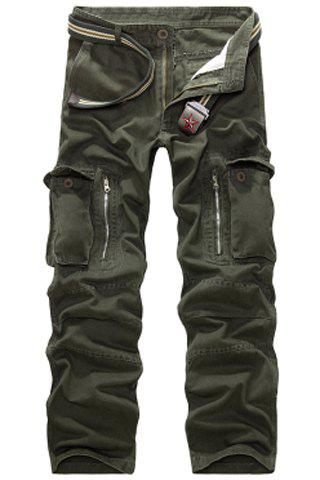 Casual Loose Fit Multi-Pockets Zip Fly Straight-Leg Cargo Pants For Men - ARMY GREEN 33