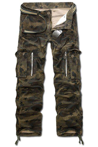 Casual Loose Fit Multi-Pockets Zip Fly Straight-Leg Camo Cargo Pants For Men
