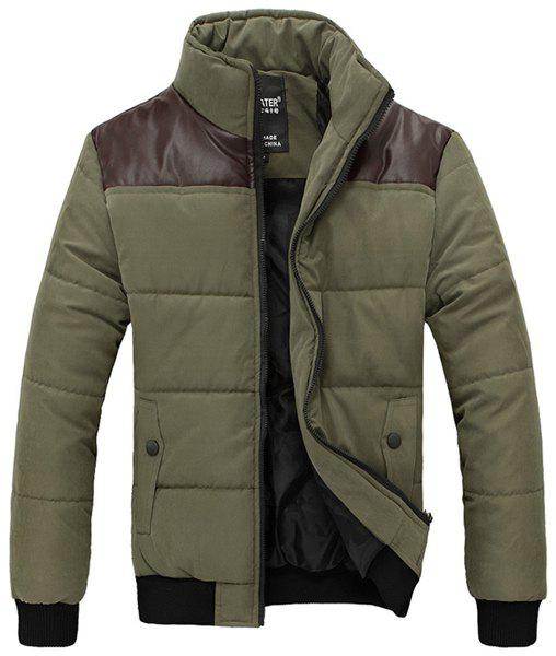 Slimming PU-Leather Splicing Stand Collar Long Sleeve Men's Cotton-Padded Jacket - GREEN M