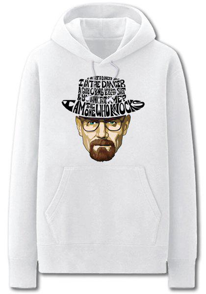 Drawstring Hooded Cartoon Breaking Bad Figure Printed Long Sleeve Hoodie For Men - WHITE 2XL