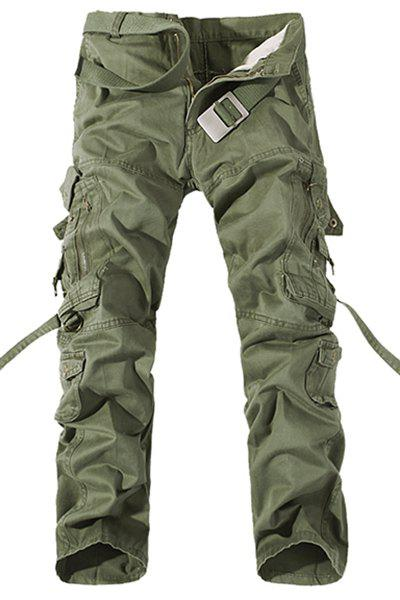 Casual Loose Fit Multi-Pockets Zip Fly Solid Color Cargo Pants For Men - GRASS GREEN 34