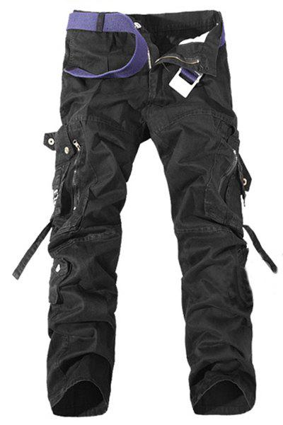 Casual Loose Fit Multi-Pockets Zip Fly Solid Color Cargo Pants For Men - BLACK 38