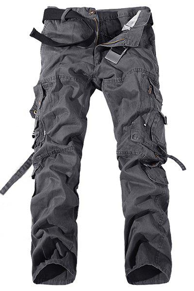 Casual Loose Fit Multi-Pockets Zip Fly Solid Color Cargo Pants For Men - GRAY 32